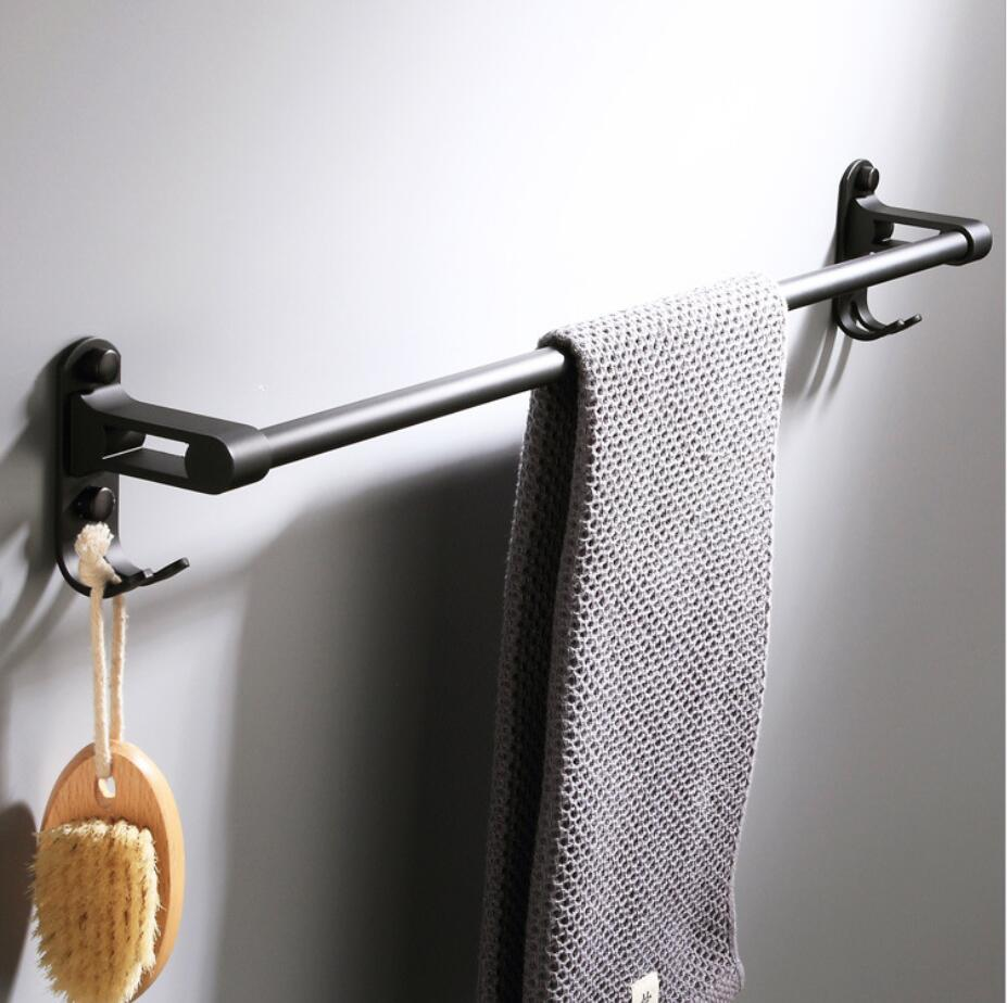 Bathroom Wall Mounted Black Towel Bar Bathroom Towel Rack Holder with Double Robe Hooks Bathroom Hardware PendantBathroom Wall Mounted Black Towel Bar Bathroom Towel Rack Holder with Double Robe Hooks Bathroom Hardware Pendant