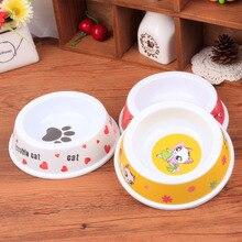10pcs/lot 14*9*4cm Colorful Round Melamine Cat Bowls Plastic Tableware Pet Supplies Send at Random