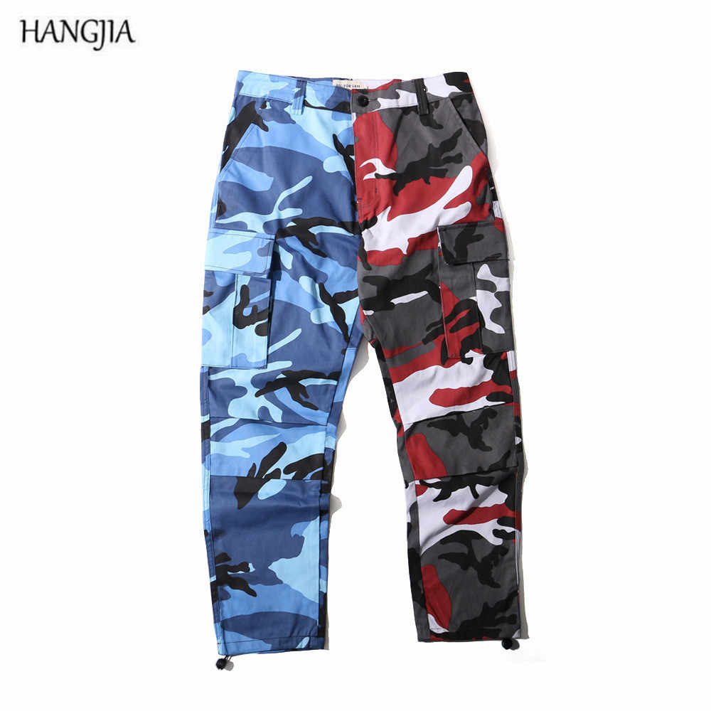fa3a72570a405 Streetwear Camouflage Multicolor Stitching BDU Pants Men and Women Fashion  Hiphop Trend Overalls Jogger Urban Multi