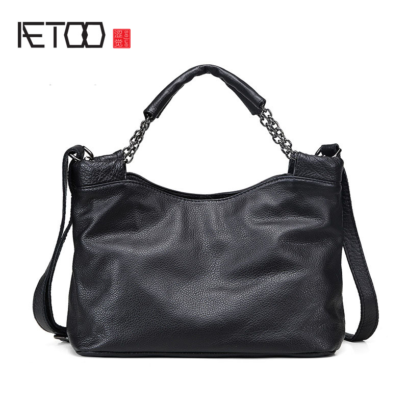 AETOO Europe and the United States the first layer of small leather small square leather ladies leather handbag europe and the united states style first layer of leather lychee handbag fashion retro large capacity solid business travel bus