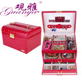 Fashion New Women Alligator Grain 6 Sweet Bright Colors Automatic Gift jewelry Box Display Organizer Carrying Case Boxes