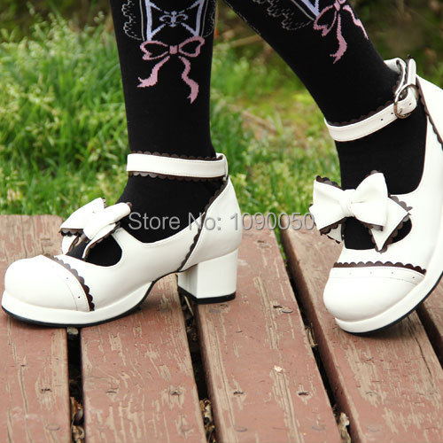 Big size:34-44 Popular lolita bow princess brand Lace lovely princess shoes white sweet high heels fashion Cosplay girl's pumps eur 34 44 angelic imprint zapatos mujer lolita cosplay punk pumps high boots princess sweet girl s pumps black women s shoes