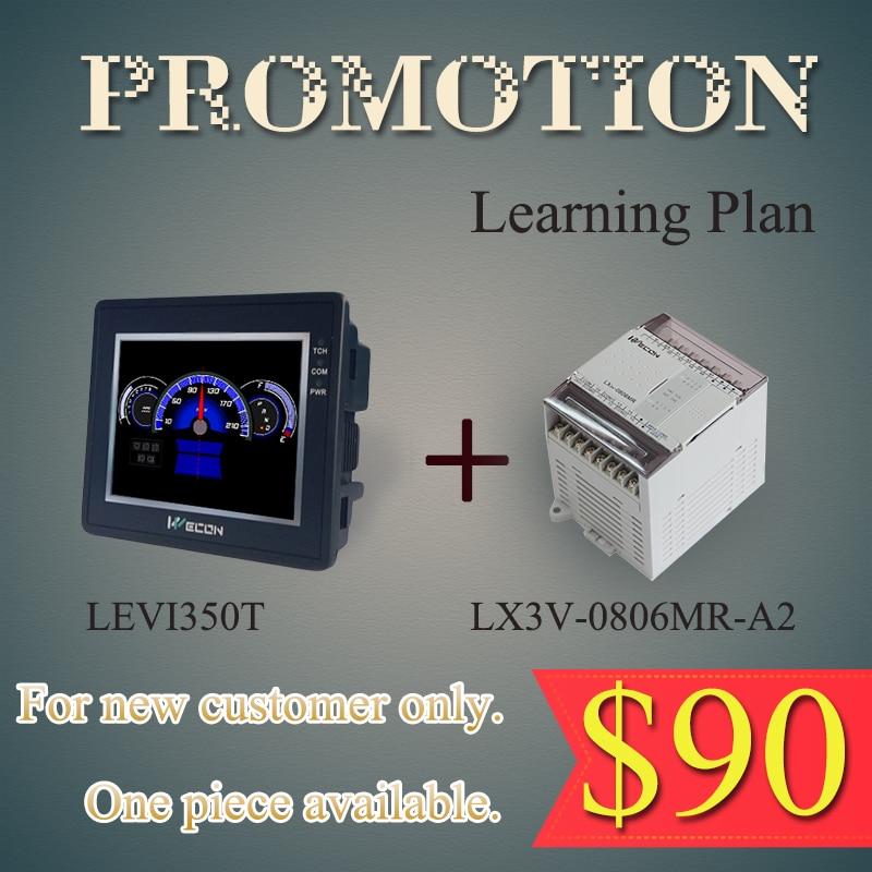 Wecon LEVI-350T HMI and LX3V-0806MR-A2 PLC plc programmable logic controller module and 3 5 inch hmi learning plan hmi plc