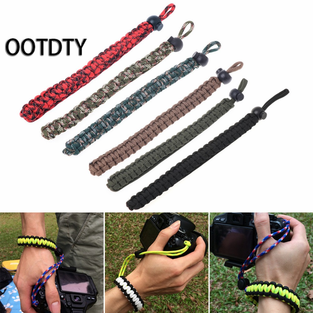 1 Pc Braided Paracord Adjustable Camera Wrist Strap Lanyard Beacelet For DSLR Tools