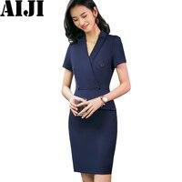 Spring Summer Formal Wear Dress Female OL Fashion Elegant Plus Size Slim Sexy V Neck Navy