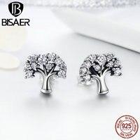 Bijoux Genuine 100 925 Sterling Silver Earrings Tree Of Life Clear CZ Stud Earrings For Women