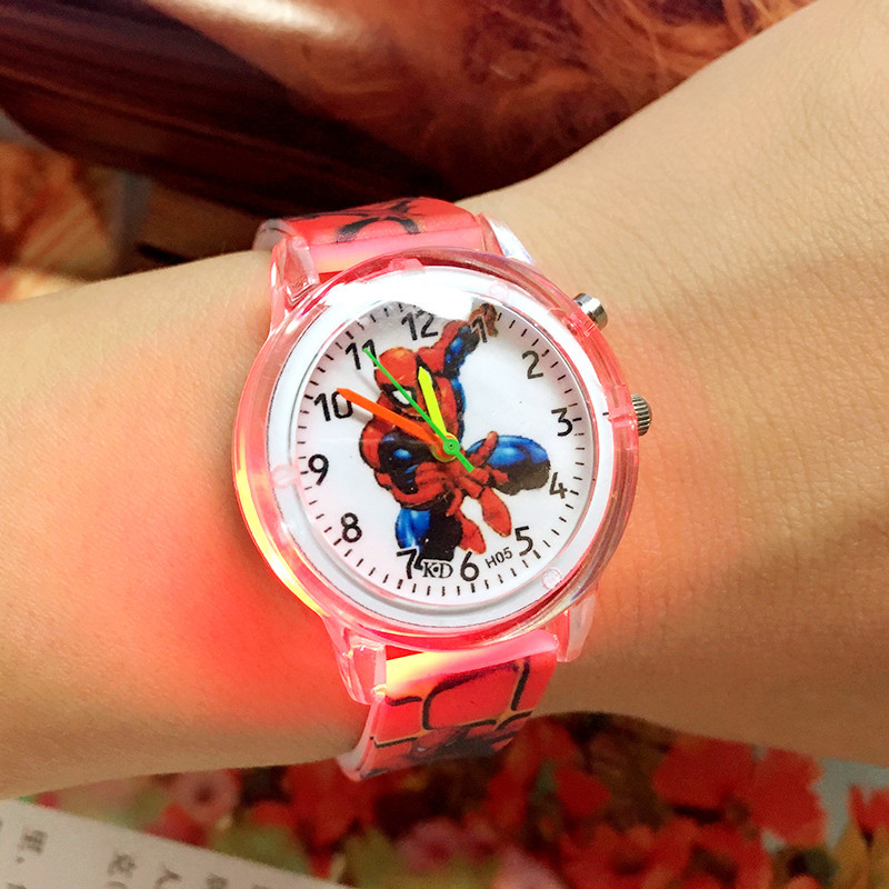 2019 Spiderman Children Watches Cartoon Electronic Colorful Light Source Child Watch Boys Birthday Party Kids Gift Clock Wrist(China)