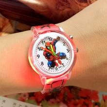 Детские часы с человеком-пауком, электронный красочный светильник, детские часы для мальчиков на день рождения, подарок для детей, наручные часы