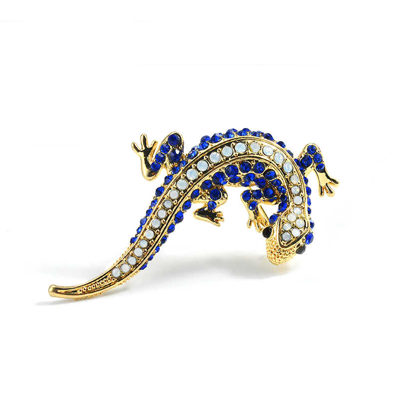 63bc84c13e Blue Crystal Rhinestone Lizard Gecko Pins And Brooches For Women Female  Small Animal Brooch For A Scarf Coat Suit Jewelry Gifts