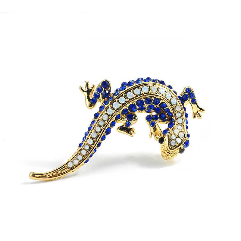 b847c51c9 ... Blue Crystal Rhinestone Lizard Gecko Pins And Brooches For Women Female  Small Animal Brooch For A ...