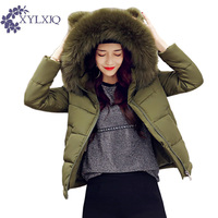 XYLXJQ 2017 New Winter Jacket Women Thick Warm Cotton Padded Coat Fur Collar Hooded Cute Parkas Female Overcoats HQ144