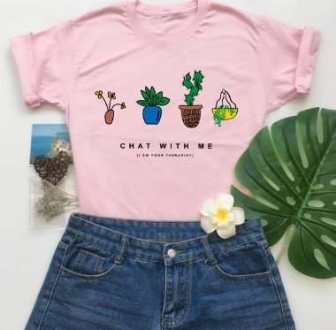 Kuakuayu-JF 1PCS Plant Lover Chat with Me I Am Your Therapist Girls T-Shirts Cute Cartoon Plants Tops Women White Graphic Tee