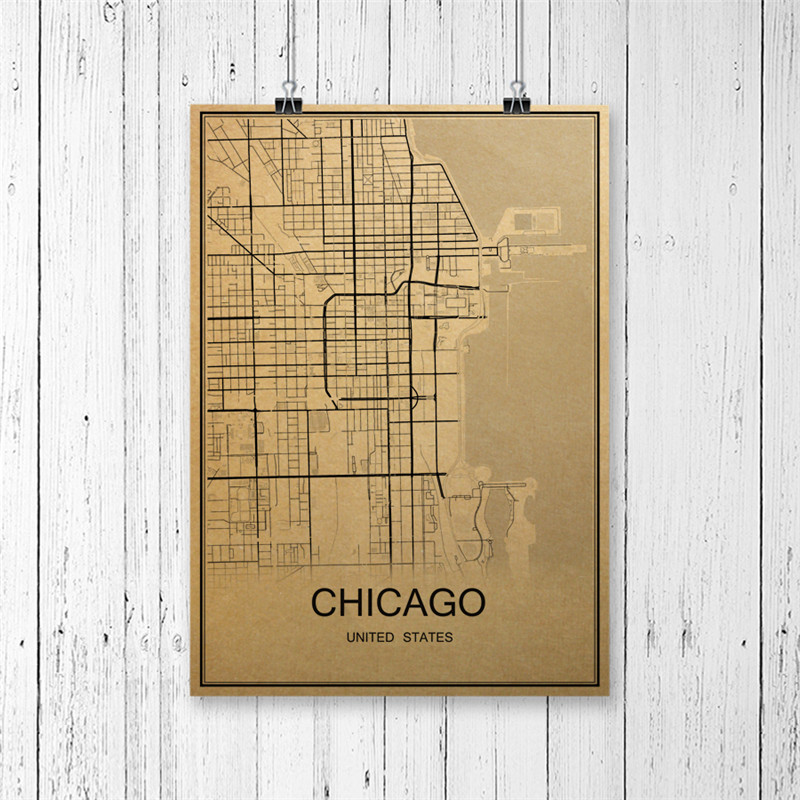 Hot Sale CHICAGO Vintage Poster World Map Retro Painting Krafts Paper Art Wall Picture Home Living Room Cafe Bar Pub Decor