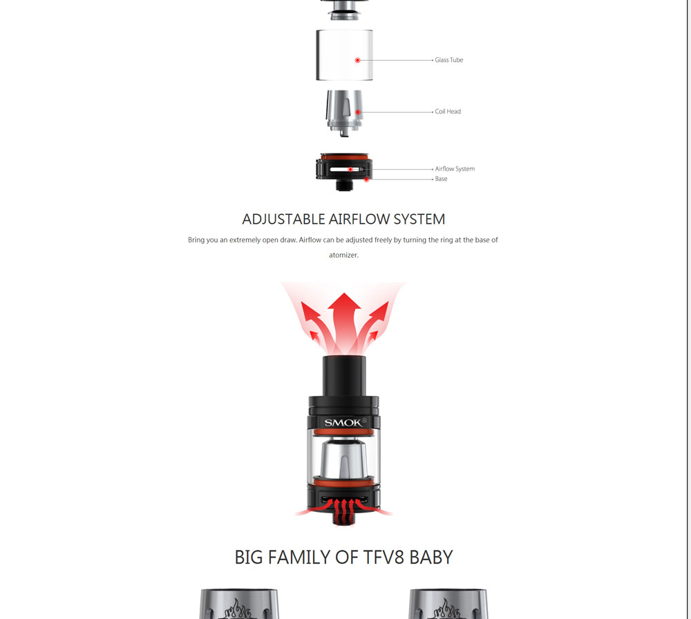 , Original Electronic Cigarette SMOK Stick V8 baby kit 2000mah with 3ml TFV8 baby Tank vape pen VS e cigarettes