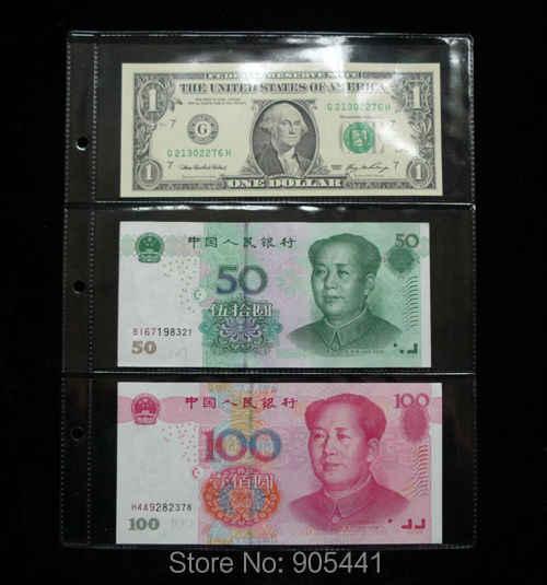 10 шт. бумажные страницы для денег 3 кармана 185*80 мм банкнота держатель для страницы альбома Коллекция Бесплатная доставка Оптовая продажа