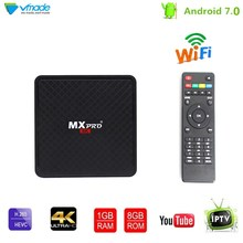 Android 7.0 Samrt TV Box 1G 8G Allwinner H3 Quad Core UHD 4K Set-Top Box Support 3D H.265 1.0GHZ WiFi Google TV Media Player стоимость