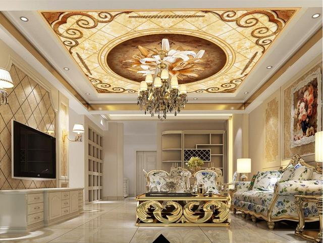 Home Decoration Sky Ceiling Wallpaper European Style Garden Flower Zenith Murals