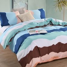 WINLIFE Colorful Bedding Set with Semicircle Wave Printed Microfiber Duvet Cover 3 PCS