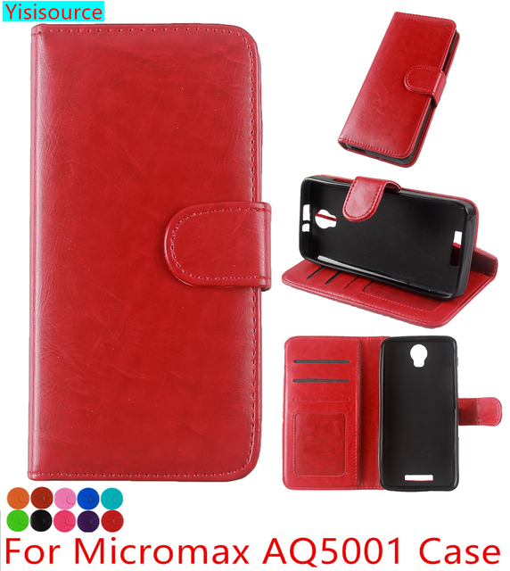 Yisisource Case for Micromax AQ5001 Funda Wallet Flip Cover PU Leather Case Micromax AQ5001 Phone Case with Holder Card Slots