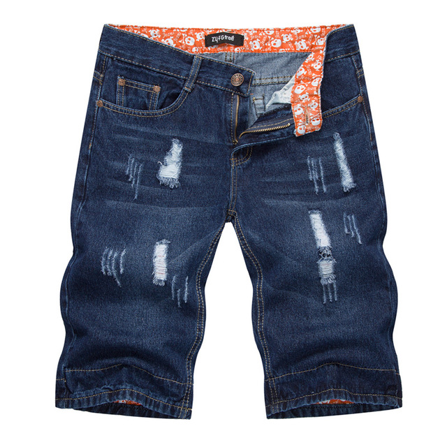 Summer Men's Stretch Short Jeans Men color: Beige Black Blue