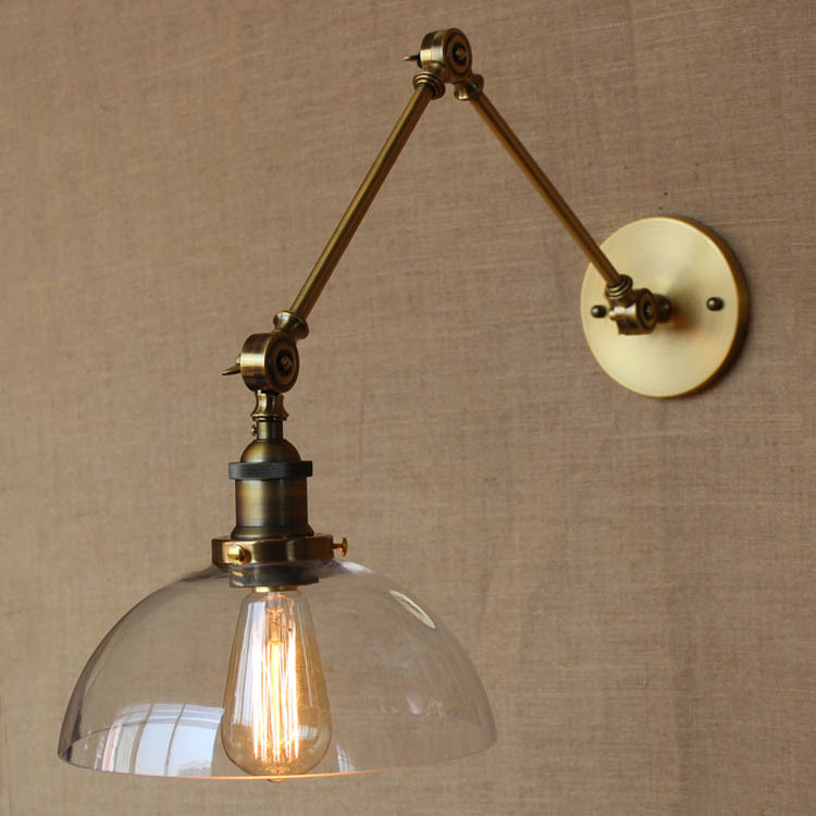 The American Style Semicircle Glass Wall Lamp Golden Iron Long Arm Light The Sitting Room Light Balcony Light Free Shipping american creative fashion led the study bedroom mirror before the long arm of the head of a bed wall lamp wrought iron long arm
