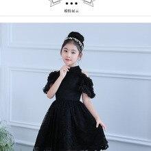 Siyah Çiçek Kız Elbise Diz Boyu Prenses Elbise Dantel Tutu Elbiseler Doğum  Günü Çocuk Balo Akşam 3ebd8bf75f70