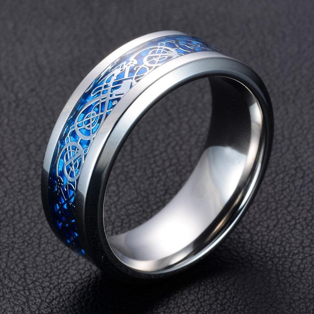 Bague de mariage en acier inoxydable noir 316L en Fiber de carbone bleue avec des anneaux de Dragon Nibelungen pour hommes