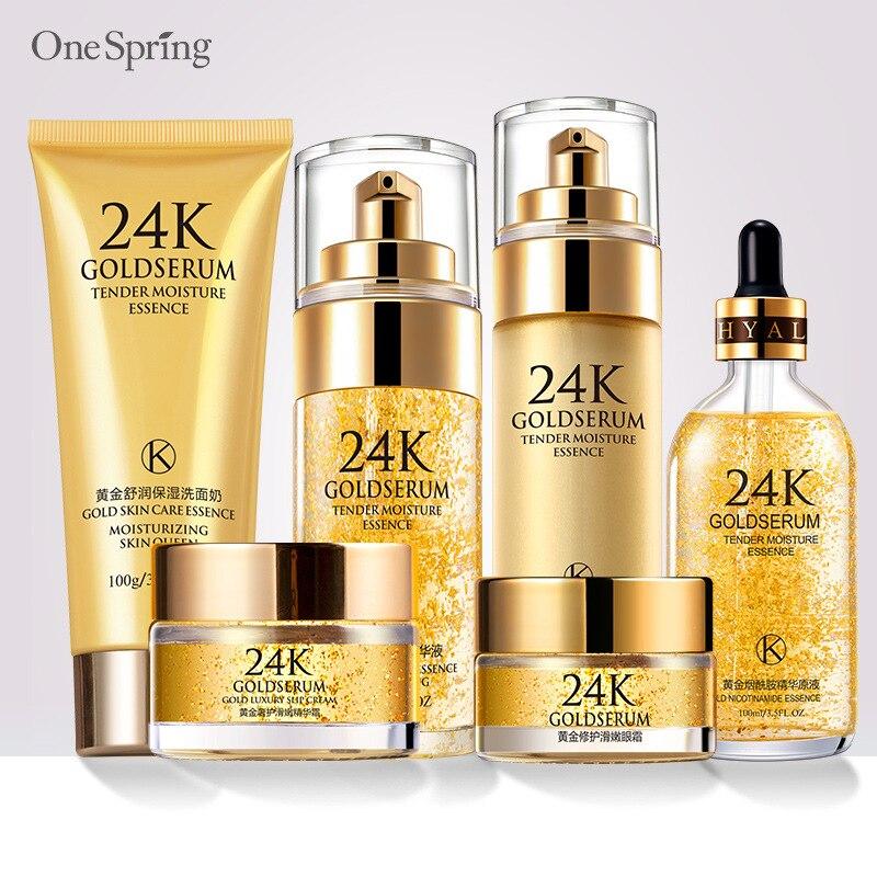Uma primavera 6 pçs 24 k ouro creme de rosto conjunto cosmético clareamento hidratante cremes hidratantes essência soro novo rosto cuidados com a pele