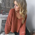 Zewo Winter Knitted Sweater Women Sexy V Neck Zipper Long Sleeve Sweaters And Pullovers With False Collar Sweater Oversized
