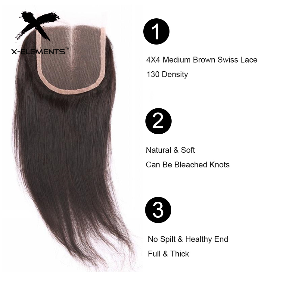 X-Elements Hair 4 * 4 Closure 1 Piece Extensions Peruvian Mänska - Mänskligt hår (svart) - Foto 4