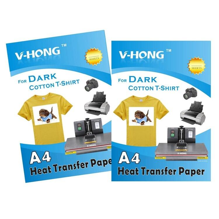 Papier de transfert de chaleur de vêtements de coton de taille A4 de haute qualité pour foncé