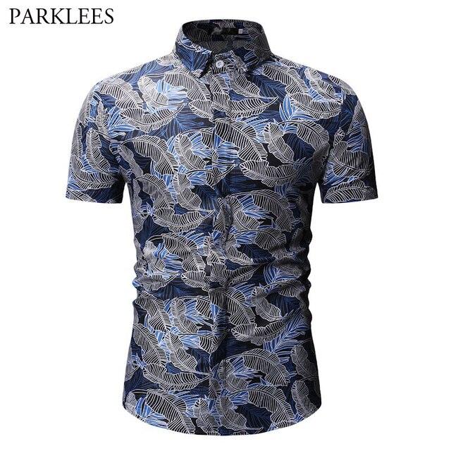 a1eaa214 Mens Shirts Summer Men Clothing 2019 Fashion Leaf Print Short Sleeve Shirt  Men Holiday Beach Casual Hawaiian Shirt Male Chemise