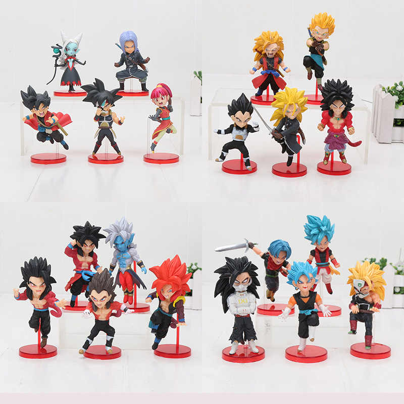 5 pçs/set Dragon Ball WCF Zeno towa Goku trunks vegeta freeza Dragon Ball gohan Super Heróis 7th aniversário toy Action Figure