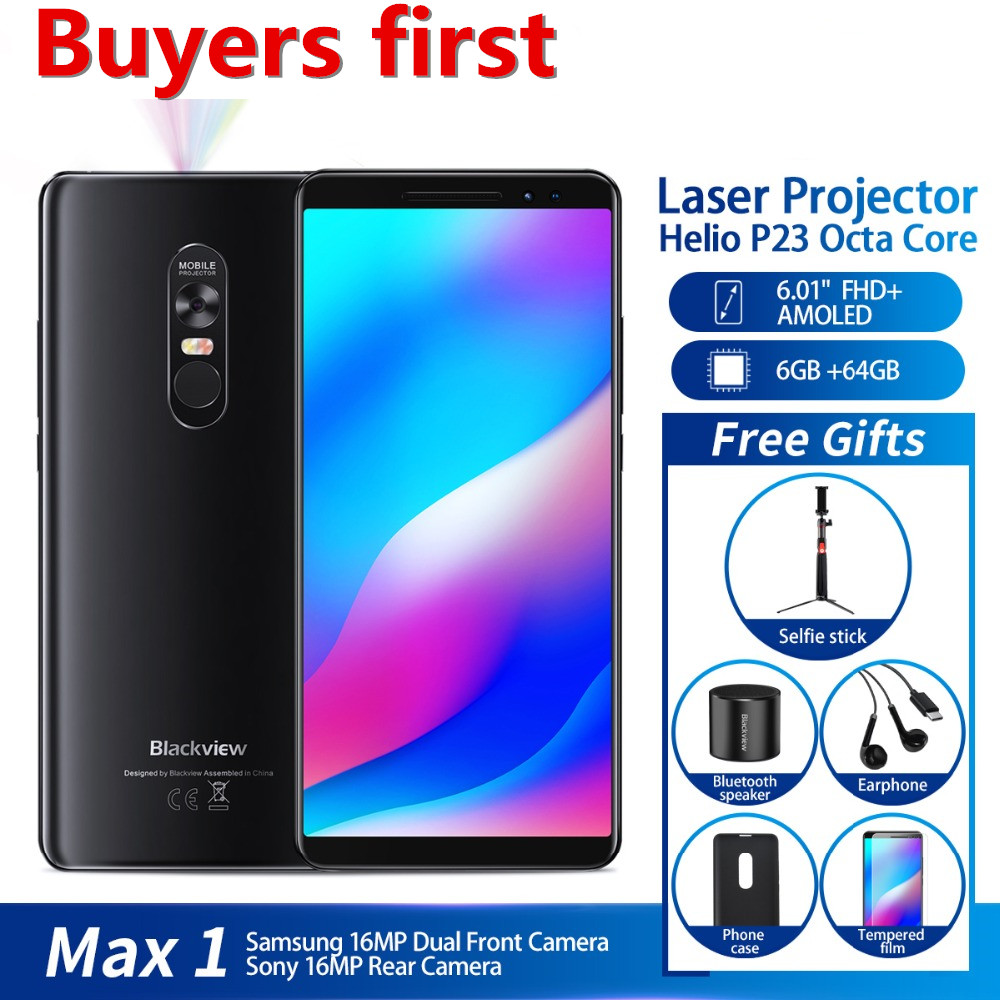Blackview MAX 1 Projector Mobile Phone 4680mAh Android 8.1 Mini Projector Portable Home Theater 6GB+64GB NFC 4G LTE Smartphone
