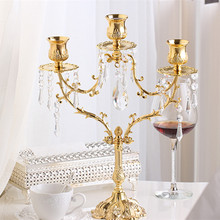 Hot sale 3 arm Iron art Crystal Candlestick Creative Table Decoration candelabros wedding centerpieces Candle Holders
