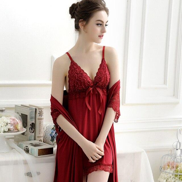 Сексуальное ночная сорочка женщины халаты халат установить высокое качество кружева ночной рубашке халаты спагетти ремень ночные сорочки халаты для женщин