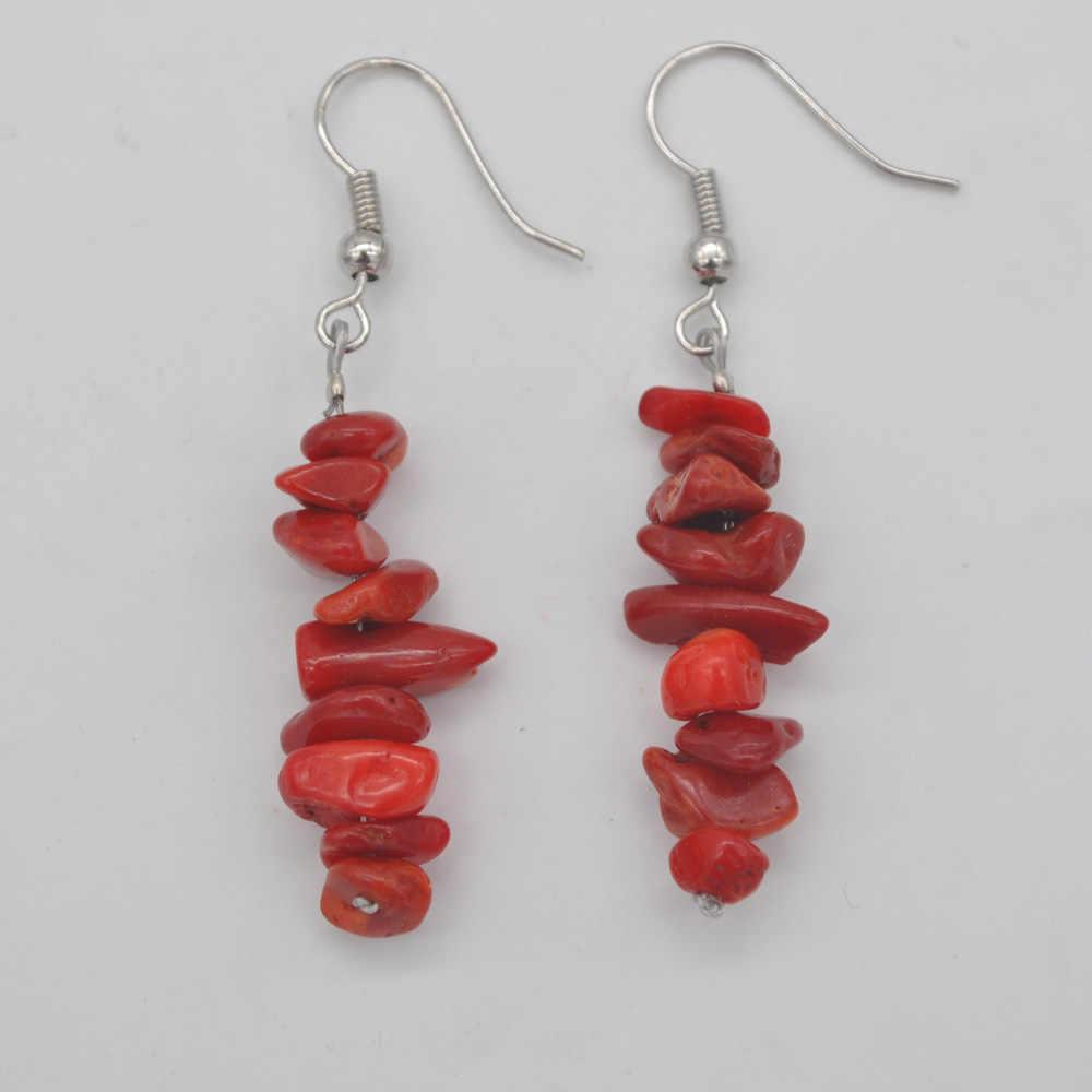 ナチュラル幸運手作り紅海珊瑚ビーズの宝石イヤリングジュエリー T181