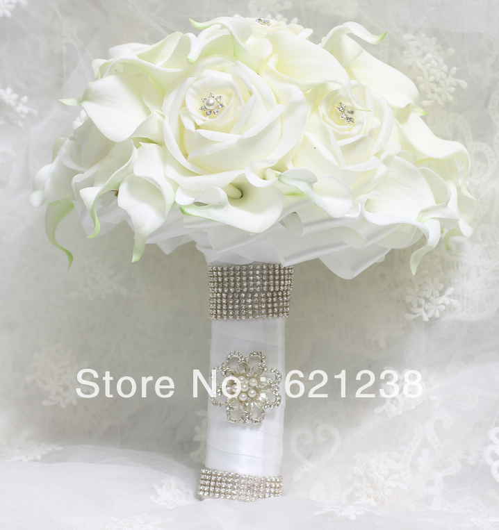 Ems free shippingbride holding white calla flower calla lily ems free shippingbride holding white calla flower calla lily wedding bouquets and roses combined diamond jewelry embellishment in wedding bouquets from junglespirit Images