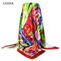 [LESIDA] 2016 NEW 90x90cm Silk Square Scarf Women Fashion Brand High Quality Cheap Imitated Satin Scarves Polyester Shawl DF9020