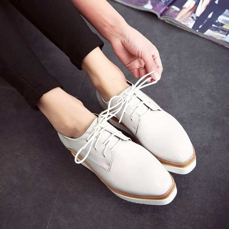 efe4303a4b2 New Arrival Nice Square Toe women s Wedge Shoes Black White 1 Colors Female Platform  Shoes Lace Up Ladies Fashion Shoes WSH255-in Women s Flats from Shoes ...