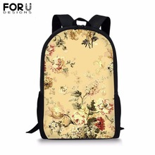 FORUDESIGNS Customize 16 inch Backpack for Teenager Girls Boy Colorful Flower Spot Print School Bag Childrens BookBag Daypack