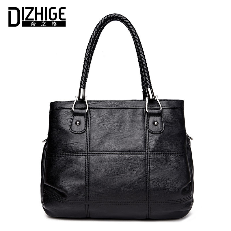 DIZHIGE Brand Fashion Big Capacity Shoulder Bags High Quality PU Leather Bags Women Handbags Designer Ladies Tote Bag Black 2017 dizhige brand 2017 fashion thread crossbody bags plaid pu leather bags women handbags designer shoulder bags ladies sac spring