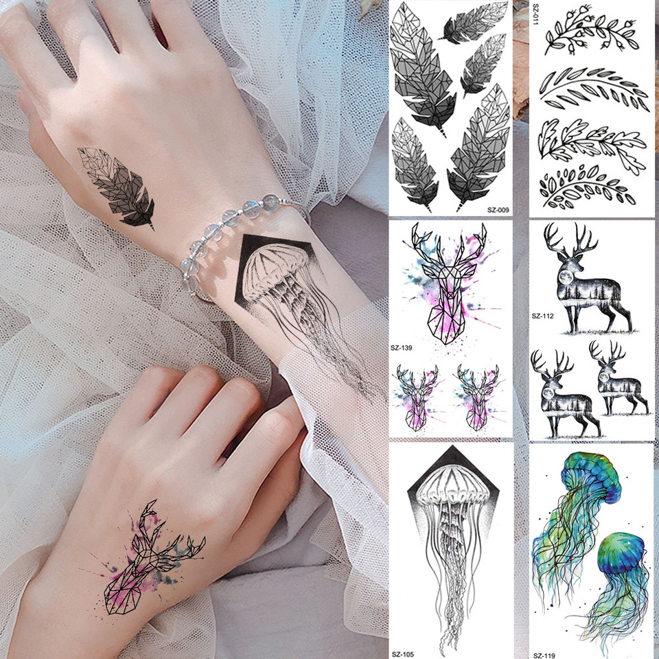 Black Tribe Feather Leaf Tattoo Stickers Women Body Arm Temporary Tattoo Paste Men Wrist Flash Elk Waterproof Tatoos Jellyfish Temporary Tattoos Aliexpress