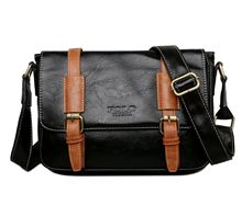 Messenger Bag for Men Vintage Leather Waxed Canvas Briefcase  Laptop Office Bags