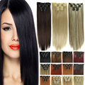False color Hair with clips 16 Clip in Hair Extensions synthetic hair piece 23inch Long Straight secret hair extension