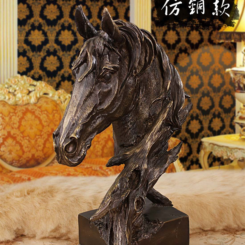 Nordic Style Retro Horse Head Statues Handicraft Home Sculpture Hotel Decorations Resin Figures Animal Crafts Christmas