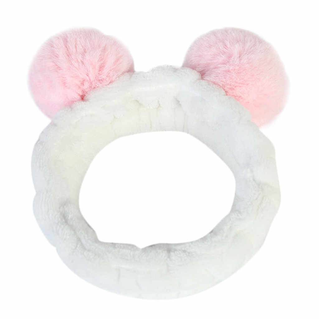 Delle Signore Delle donne Fluffy Elastico Hairband Della Fascia Panda Orecchio Carino Testa Fascia Dei Capelli Bella Doccia Trucco Carino Copricapi