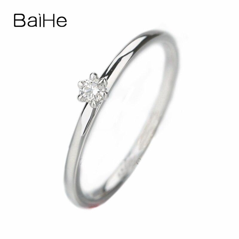 BAIHE Solide 10 k Blanc Or VS/H Full Cut 100% Naturel Diamants Anneau De Mariage Femmes de Partie de Fiançailles Bijoux anneau de mode