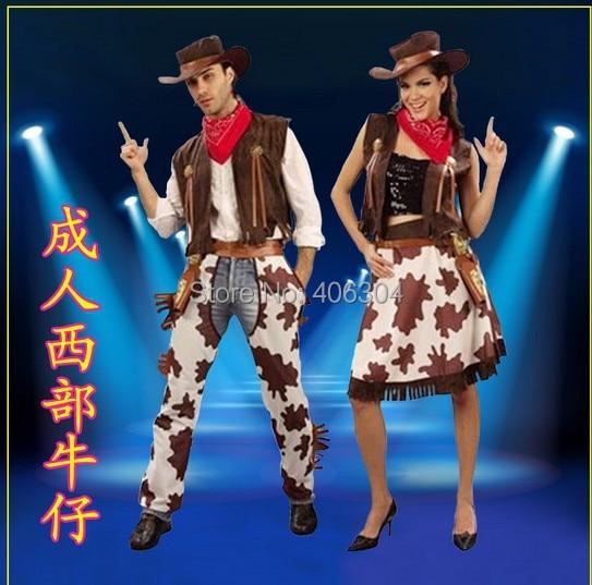 Disfraces de halloween para adultos hombres y mujeres cosplay vaquero varón occidental de fantasía y Cowgirl