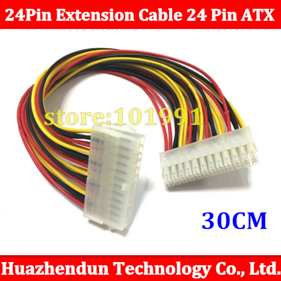 30cm  24Pin Male to femal 24 pin Extension Cable 24 Pin ATX Power Cable Multicolor 18AWG Free Shipping high quality atx 24pin motherboard power extension cable 30cm four colors for your choice 18awg 24pin extension cable